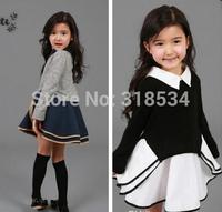 Hot Sale phelfish girls fashion dresses children casual long sleeve student one piece kids spring clothing wholesale