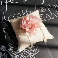 free shipping 2015 vestido longo Crystal flower ring pillow senior linen wedding ring pillow france Custom Made