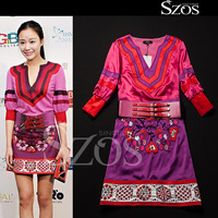 new arrival 2015 summer fashion brand designer women's clothing embroidery half sleeve vintage large size runway dress pink XL