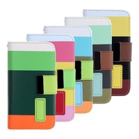 Three Colors Wallet Leather Case For iPhone 4 4s +Free Screen Protector