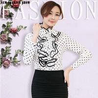 Court Vintage Style Clothing Ladies Tops Office Shirts 2015 Fashion Black Dots White Long Sleeve Women Chiffon Blouse 6251