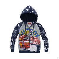Hot Sale 95% Cotton Little Boy's Fleece Jacket Cartoon Character Boys Outerwear Spring And Autumn Kid's Hooded Coat