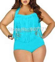 2015 New Plus Size High Waist Swimsuit Sexy Tassel Padded Swimwear Push Up Solid Bikini Sets