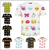 Top Hot 3d t shirt Europe and America popular 100pints/Smile Face Emoji tshirt women short sleeve casual t-shirt 12model