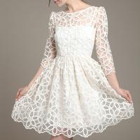 2015 Spring Summer New Vestido Women European White Floral Crochet Lace Dress Ladies 3/4 Sleeve A-line Dresses Plus Size S-XL