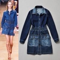 2015 summer women long sleeve one piece dress brand designer dress denim classic  runway dress blue shirt dress
