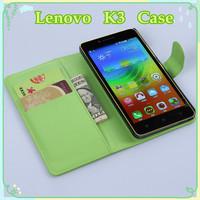 Lenovo K3 case new arrival 9 colors litchi texture flip leather case cover for Lenovo Lemon K3 cell phone wallet design