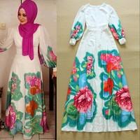 2015 summer women maxi long dress long sleeve muslim dress chiffon flower print runway dresses white