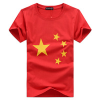 2015 China lovely National flag print short sleeve t-shirts women /men o-neck cotton Pentagon heart design tops & tees J1146