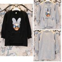 5pcs/lot 2015 spring new arrival girls long sleeve cartoon duck t shirt kids cotton tops 1154