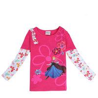 2015 New Spring Flowers Tees Girls Princess T-shirt Baby Anna t-shirts Children Embroidery tshirts Kids Cartoon Clothing