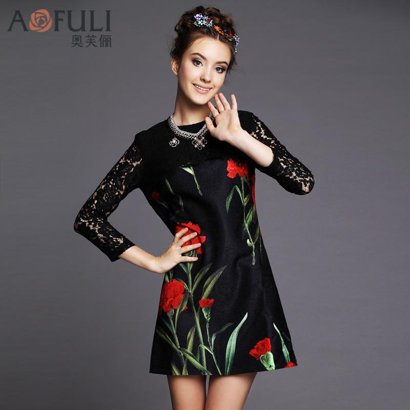 European and American brand new fall large size women stitching lace dress rose print dress large size G186(China (Mainland))