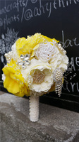 Yellow Collection High End 100% Handmade Crystal Wedding bridal throw bouquet  Bridal Bouquet 2015 Bridesmaid Photography Props