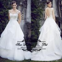 2015 Romantic Scoop Neck Backless White Wedding Dresses With Appliques Ruffles Bridal Dress Vestido De Noiva