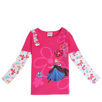 2015 New Spring Flowers Tees Girls Princess T-shirt Baby Anna t-shirts Children Embroidery tshirts Kids Cartoon Clothing