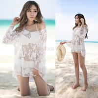 Women Lace crochet Blouse Female New Fashion Long Sleeve Flowers Beach Cover Up Hollow Out Lace Shirt Tops blusas femininas b4