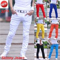 7 Colors Distrressed Mens Casual Denim Pants Size 27-34 Slim Fit Fashion Cotton Bermuda Jeans Masculina White Skinny Men Jeans