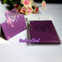 30pcs Free Shipping Purple Laser Cut Paper Cards Table Mark Cards Name Cards for Wedding Favors Birthday Party Decorations