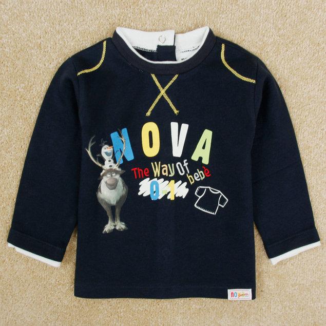 2015 New Arrival Boys Olaf & Sven T-shirt Baby 100% Cotton t-shirts Long Sleeve Kids NOVA Printed tshirts Child Cartoon Clothing(China (Mainland))