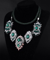 B N00327 2014 new lastest necklaces & pendants handmade fashion rhinestones choker statement necklace women jewelry