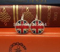 Wholesale United kingdom flag dangles drop stud earrings womens jewelry handmade 12mm bronze or silver 1pcs/lot round fashion