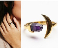 fashion jewelry accessories natural amethyst stone moon finger rings for women 2015 size 17mm