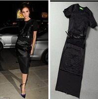 New  Pencil dress Victoria Beckham style Black Separated Two Pieces Slim Dress w/ Belt Zipper Fashion Hot Free shipping