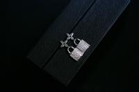 Exclusive custom Clover Hoop earrings full of created diamond earrings lock