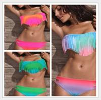 2015 NWT Women Beach Bathing Suit Sexy Padded Swim Wear Swimsuit Tassel Fringe Top and Bottom Bikini 6 Colors S M L