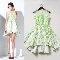 2015 summer women print sleeveless one piece dress brand designer dress green handmade 3D flowers large size  runway dress XL