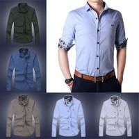 Free ShippingFashion Korean Mens Long Sleeve Casual Button Slim Fit Shirts L/XL/2XL/3XL