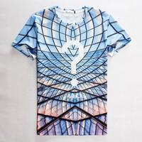 "free ship 2015 Men/Women new grid question mark T-shirt nice ""who"" print tees round neck short sleeve casual tshirt 3d t shirt"