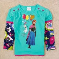 2015 New Design Summer Tees Girls Princess T-shirt Baby Queen & Olaf t-shirts Children Printed tshirts Kids Cartoon Clothing