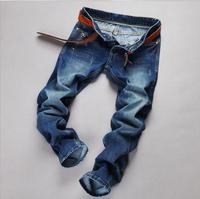 Men's fashion Slim Dongkuan young men blue-black straight jeans zipper cotton long pants tide