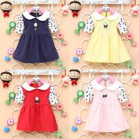 New Fashion Autumn Baby Girls Clothing Gemstone Pendant Dot Sleeves Dress Girl Lapel Tong T-shirt