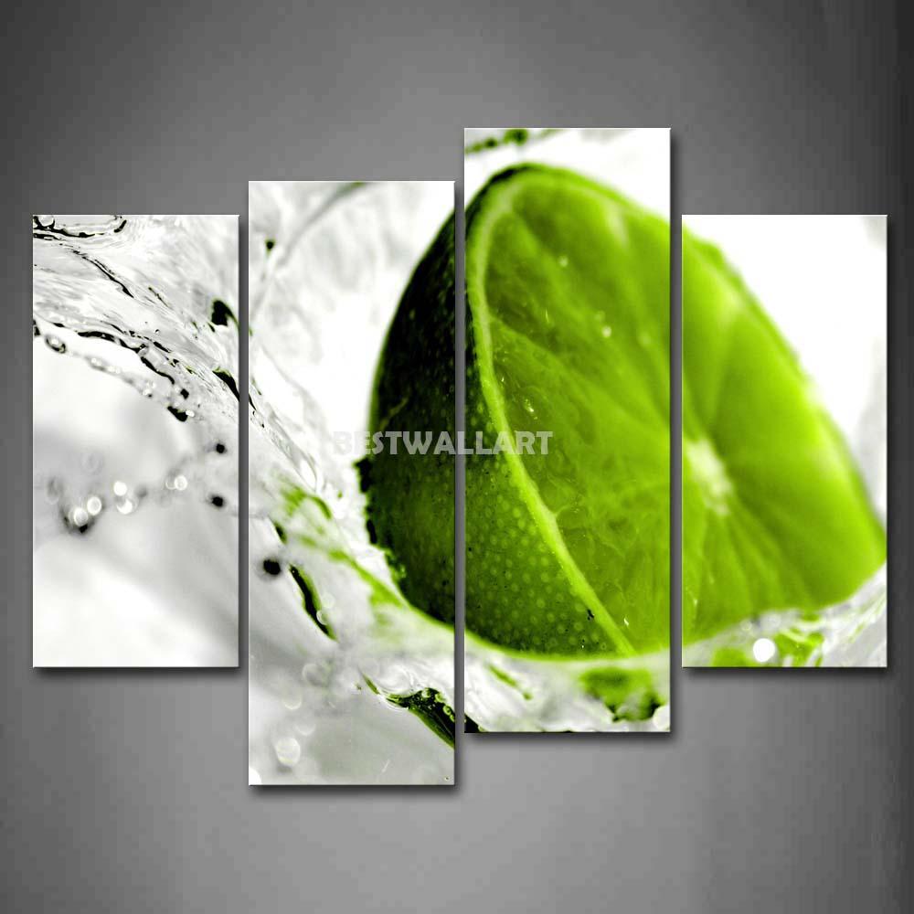 Verde cal na água 4 peça pintura em tela de arte imprimir a imagem comida 3 5 Pictures óleo imprime para a decoração Home(China (Mainland))