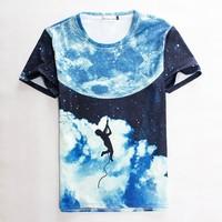 (Alice)free shipping 2015 summer Men t shirt stars rock climbing print short-sleeve casual 3d tshirts harajuku top tees S-XL