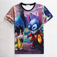 (Alice)free shipping 2015 new styles Women/Men t shirt Cartoon animation printing 3D High quality hip hopT- shirt 1826 size S-XL