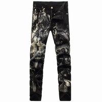 3D Printed Character Men's Jeans 2015 Fashion Slim Painting MEN Long Pencil Pants Zipper Jeans 29-36 Nightclub Hairstylist Jeans