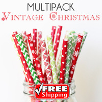 150pcs Mixed 6 Designs VINTAGE CHRISTMAS Themed Paper Straws -Chevron, Dots, Damask, Snowflake, Party, Red, Kelly Green, Lime