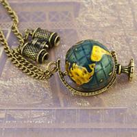 Vintage Globe Earth Telescope Tellurion Enamel Pendant Necklace Chain Gift B0997 PBP