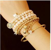 SL098 Hot Fashion 2015 New Eiffel Tower retro multi-element multi-layer pearl bracelet Wholesale Jewelry Accessories
