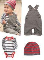 Baby Suit Boy Clothes Kid Clothes Set Overalls + Baby Romper + Cap 3pcs/set Wholesale And Retail YCZ020