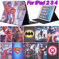 For Apple iPad 2 3 4 Smart Leather Case Spider-Man Superman Captain America The Avengers Iron Man Batman Folding Cover Magnetic