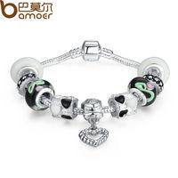 Bamoer 925 Silver Charm Bracelets With  Black European Murano Glass Beads For Women Heart Charm DIY Pulseras SDP1085