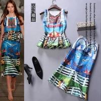 2015 summer fashion trending women brand designer sleeveless tops peplum skirts blue print women's set runway women clothing