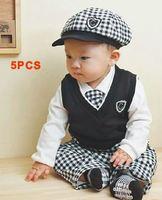 1 set Retail baby clothing set boy's plaid 5pcs set hat+shirt+vest+tie+pants babies autumn wear YCZ020