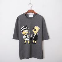 Plus Size Women Clothing 2015 Summer Tops Bart Simpson Fuuny Cute Shirt Simpsons Kawaii Clothes 0203N