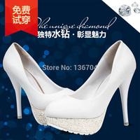 2015 single shoes nude color fashion white open toe high-heeled shoes platform thin heels female shoes crystal
