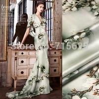 15013101 New silk fabric Free Shipping Digital  Printed Silk elastic Satin Fabric